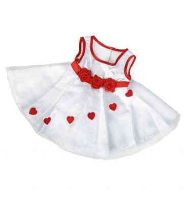 White Hearts and Roses Satin Dress